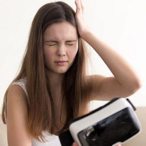 Teenage girl with vertigo after using Virtual Game